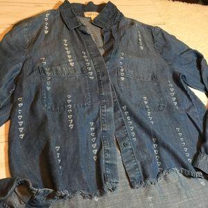Anthro Cloth & Stone Chambray Raw Fringe Blouse S